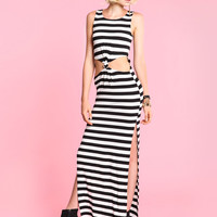 Striped Knotted Maxi Dress