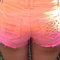 Studded Sunset Fade Shorts from ayeshadann