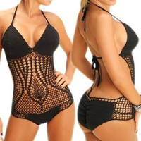 LOCOMO One Piece Scrunch Bottom Style Crochet Bathing Suit BM01BK Black