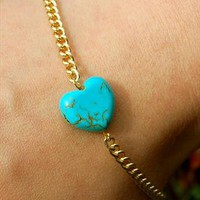 Turquoise Heart and Gold Plated Chain Bracelet from Black Tied