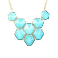 Ice Blue Hexagon Bub Necklace - Buy From ShopDesignSpark.com