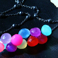 Chalcedony Neon Rainbow Oxidized Sterling by amandalynneLUXE