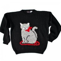 Creepy Eye Cat Vintage 80s Acrylic Tacky Ugly Sweater Women's Size Medium/Large (M/L)