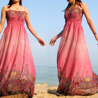 Pink Maxi Dress Change Tone Sundress Beach Long by myuniverse