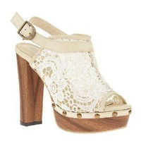 Slugged bottom lace rivet flower hook high-heeled shoes sandal