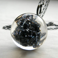 Resin Necklace with Carborundum by sisicata on Etsy