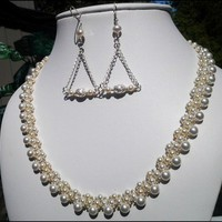 White Swarovski Crystal Pearl Necklace Sterling Silver Pearl Earrings