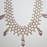 Netted Necklace with Light Amethyst Swarovski Elements Polygon Crystals 19.25in