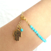 Bohemian Turquoise Bracelet with Gold Hamsa and by AtelierYumi