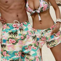 Coconut Palm Flora Beach Shorts and Bikini Sets