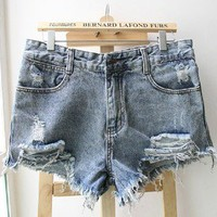 Broken tassel denim shorts