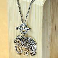 Cute Elephant Pendants Long Necklace