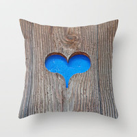 Blue wooden heart Throw Pillow by Pirmin Nohr