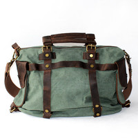 Genuine Cow Leather canvas bag / Canvas Briefcase / Canvas Messenger bag /leather Laptop bag / Men's leather satchel