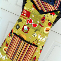 Chef Style BBQ Apron in Retro Print and Stripes Reversible Fathers Day Apron