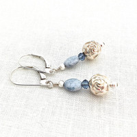 Light Blue Earring, Silver Rose Earrings, Blue Rose Earring, Blue Flower Earrings, Blue Wedding, Blue Bridesmaid, Light Blue Rose Earrings