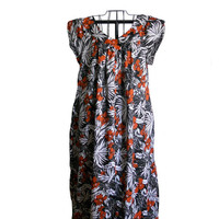 Vintage Maxi Dress Floral Hawaiian Print - Navy, White, and Dark Orange - Double V Neck - Size 16