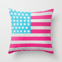 USA Flag Throw Pillow by M Studio