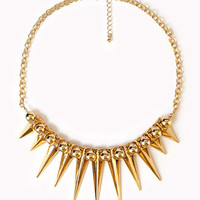 Spiked Fringe Rolo Chain Necklace