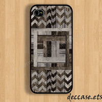 IPHONE 5 CASE Black&White Geometric wood chevron wooden iPhone 4 case iPhone 4S case iPhone case Hard Plastic Case Soft Rubber Case
