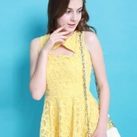 Starry Floral Embroidered Silk-blend Dress Yellow
