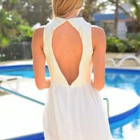 Cream High Neckline Dress with Cutout Front & Back
