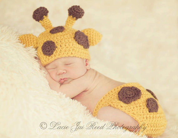 Crochet Hat Pattern Baby Giraffe Beanie Hat : Crochet Baby Giraffe Hat and Diaper Cover from JemsBoutique on