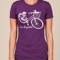 Womens retro BIKE Tshirt american apparel french s by happyfamily