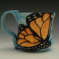 Monarch Butterfly Mug Made to Order on Light Blue | JudyBFreeman - Housewares on ArtFire