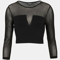 Topshop Mesh Yoke Crop Top | Nordstrom