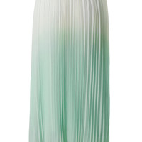 Ombre Green Pleated Maxi Skirt