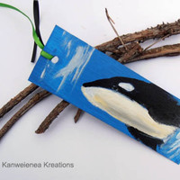 Orca killer whale art bookmark original hand painted Gunilla Wachtel
