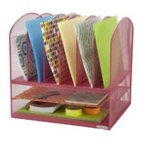 Safco Products 5903PI Onyx 2 Horizontal/6 Upright Sections Desk Storage Organizer, Pink
