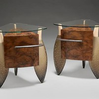 Brown Rumpled Pair by Brent Skidmore: Wood Cabinets - Artful Home