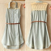 Fashion Lace Stitching Sleeveless Denim Dress