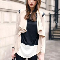 Stiching Leather Waist Lapel Chiffon Coat Beige on LoLoBu