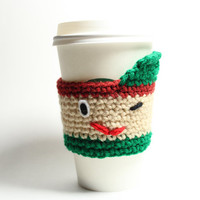 Leprechaun cozy, crochet cup sleeve, St Patricks Day cozy