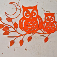 Metal Owl Decor/ Bright Orange /Wall Decor  by AquaXpressions