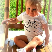 BICYCLE SMILEY Baby Bodysuits Tees BIKE Toy Health by MyLucysLoft2