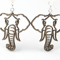 Elephant Earrings Wood Earrings by GreenTreeJewelry on Etsy