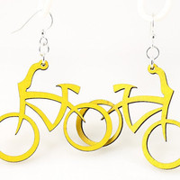 Bicycles Earrings laser cut from Reforested by GreenTreeJewelry