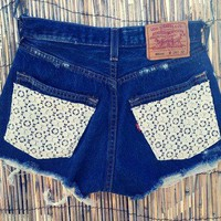 Vintage Levis Denim High Waist Cut off Shorts Crochet on LoLoBu