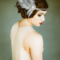 Flapper Headpiece, Vintage Inspired, Bridal Hairpiece, The Great Gatsby, 1920's, 1930's, Party, Roaring 20's, Silver, Gray, Pearl, Feather