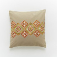 Embroidered Horizontal Mosaic Pillow Cover