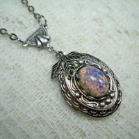 Locket Necklace   Silver Locket  Pink Opal by TwystedCreations