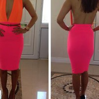 ORANGE AND PINK HALTER DRESS