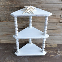 Vintage White Wooden Distressed Corner Table