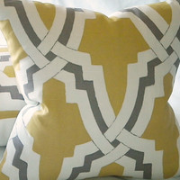 Pillow Bokara Linx citrus and pewter 16X 16