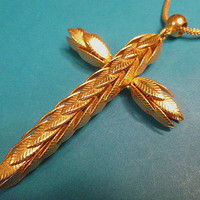 Unique Mens Layered Leaves Goldtone Large Vintage Cross with Neckchain