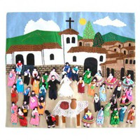 Novica Andean Wedding Applique Wall Hanging - 132785 - All Wall Art - Wall Art & Coverings - Decor
